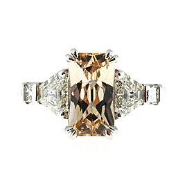 Vintage Orange Yellow Sapphire & Trapezoid Diamond Platinum Ring Size 6.5