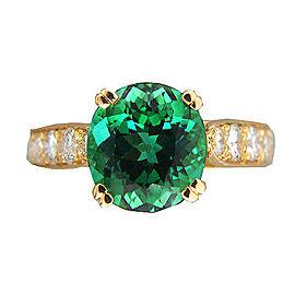 Vintage 18K Yellow Gold 3.74ct Natural Bluish Green Tourmaline and Diamond Ring Size 7
