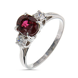 Vintage 14K White Gold with 1.07ct. Red Ruby & 0.25ct. Diamond Ring Size 6.25