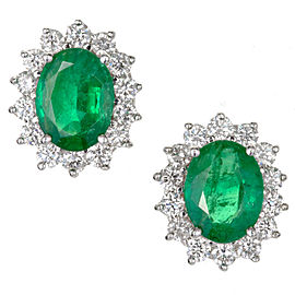 VIntage 18K Yellow Gold with 3.25ct Gem Oval Green Emerald 1.20ct Diamond Earrings