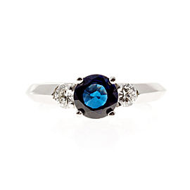 Vintage 14K White Gold 1.08 Bright Blue Sapphire & 0.29ct Diamond Ring Size 5