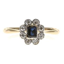 18K Yellow Gold & Platinum with 0.20ct Diamond & 0.40ct Sapphire Ring Size 8.5