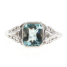 Art Deco 14K White Gold 1.58ct Aqua & Diamond 0.02ct Filigree Ring Size 7.25