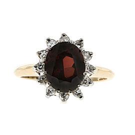 Vintage 14K Yellow & White Gold 2.80ct Red Garnet & 0.20ct Diamond Ring Size 8