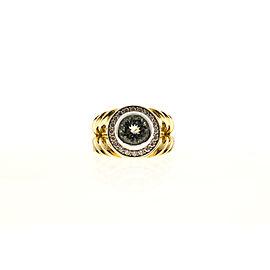 Vintage 18k Yellow God 1.63ct Natural Aqua and .60ct Diamond 18k Swirl Ring Size 7.5