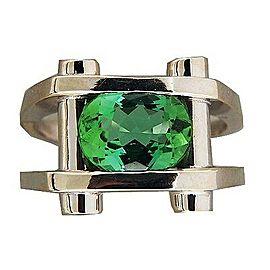 14k White Gold 2.90ct Green Tourmaline .20ct Diamond Ring Size 8.5