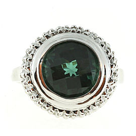 Vintage 14K White Gold 3.00ct Green Tourmaline & 0.60ct Diamond Ring Size 8.25
