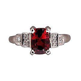 Platinum Vintage 1.54ct Orange Red Cushion Spinel Art Deco Ring Size 5