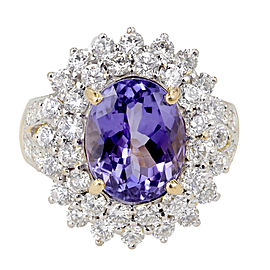 Vintage 18K White & Yellow Gold with 5.17ct. Purple/Blue Tanzanite & 2.15ct. Diamond Ring Size 7.75