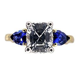 Vintage 18k Yellow Gold Platinum Engagement Ring White and Blue Sapphire Size 6
