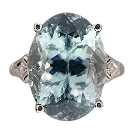 Vintage Platinum 10.76ctw Blue Zircon and Diamond Art Deco Ring Size 5.5