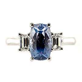 Platinum with Natural Cushion Sapphire and Diamond Ring Size 6.5