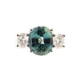 Platinum Sapphire & Diamond Ring Size 6.5