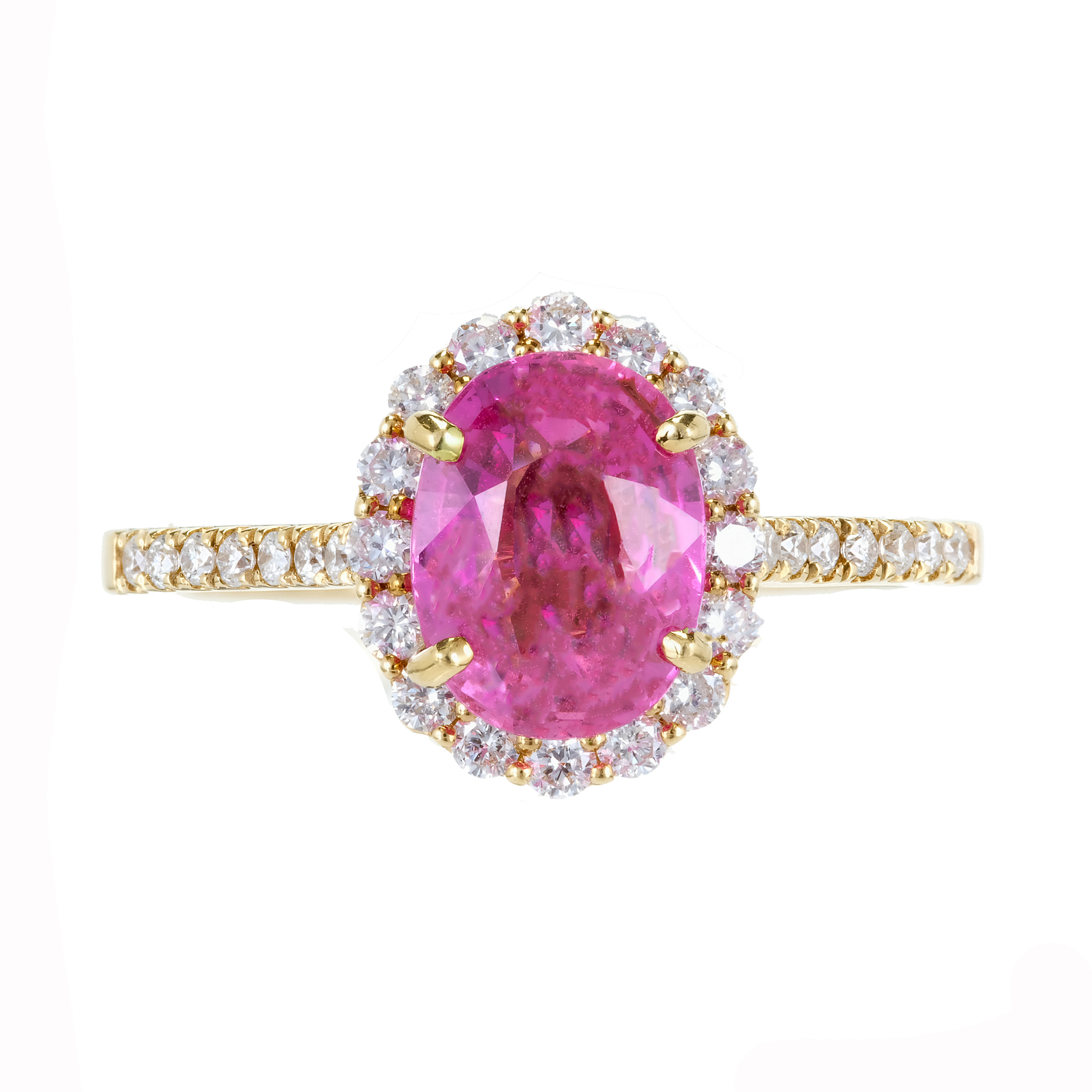 18K Yellow Gold with 2.41ct Pink Sapphire & 0.55ct Diamond ...