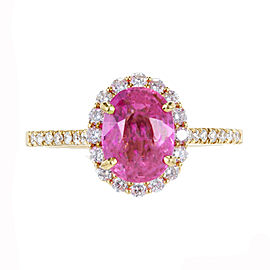 18K Yellow Gold with 2.41ct Pink Sapphire & 0.55ct Diamond Engagement Ring Size 7