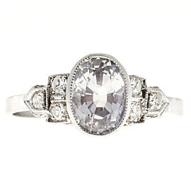 Art Deco Platinum with 2.06ct Near Colorless Sapphire with Diamond Engagement Ring Size 6.75