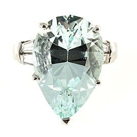 Platinum with 12.99ct Aquamarine and Diamond Vintage Ring Size 6.5
