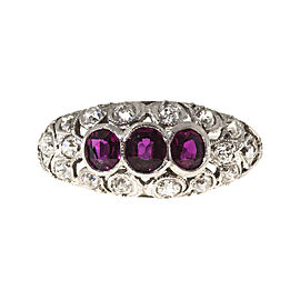Platinum with 0.35ct Diamond and 0.75ct Red Ruby Art Deco Ring Size 7