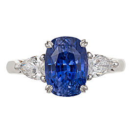 Vintage Platinum 4.73ct Blue Sapphire and Diamond Ring Size 6