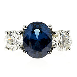 Platinum with 4.07ct Blue Sapphire and 1.70ct Diamond Ring Size 6.5