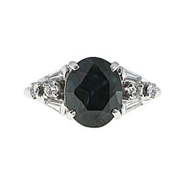 Platinum with 0.26ct Diamond and 3.30ct Blue Sapphire Ring Size 7
