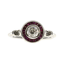 Platinum with .54ct Diamond and 0.40ct Ruby Art Deco Engagement Ring Size 6