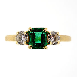 18k Yellow Gold Vintage .45ct Emerald Diamond Ring Size 6.75