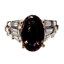 Vintage 14K White Gold 6.35ct Red Rubelite Tourmaline and Diamond Ring Size 6.75