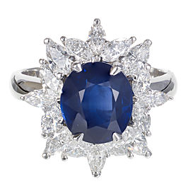 Platinum with 3.93ct Blue Sapphire and 1.42ct Diamond Ring Size 6