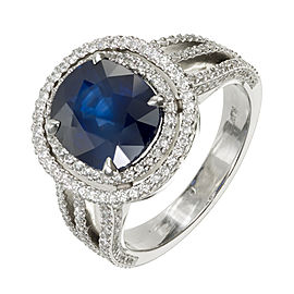 Platinum with 3.99ct Sapphire and 2.00ct Diamonds Halo Ring Size 5.7
