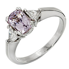 Platinum 0.33ct Diamond and 1.20ct Spinel Ring Size 6.5