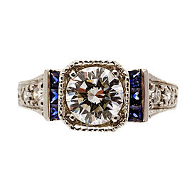 Art Deco Platinum 1.00ct Diamond Saphire Ring Size 7