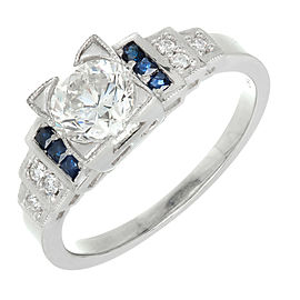 Art Deco Vintage Platinum 1.00ct Diamond Sapphire Ring Size 6.25