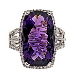 14K White Gold 8.43ct Purple Amethyst & 0.36ct Diamond Halo Ring Size 6.75