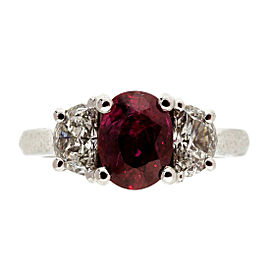 Platinum Ruby & Diamond Ring Size 6.5