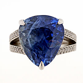 18K White Gold 15.68ct Blue Ceylon Pear Sapphire and Diamond Ring Size 6.25