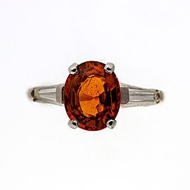 Vintage 1.50ct Spessartite Orange Garnet 14k White and Yellow Gold Diamond Ring Size 6