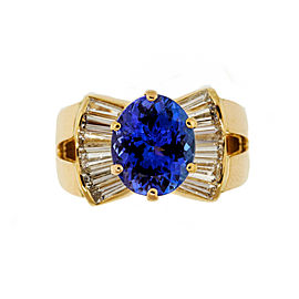 18K Yellow Gold 3.88ct Purple Blue Tanzanite Diamond Ring Size 8.25