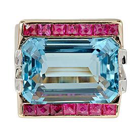 Art Deco Vintage 14K Pink Gold 15.83ct Aquamarine Ruby Diamond Ring Size 8