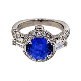 Krementz & Co. Platinum 3.57ct Blue Sapphire & 1.33ct Diamond Ring Size 7