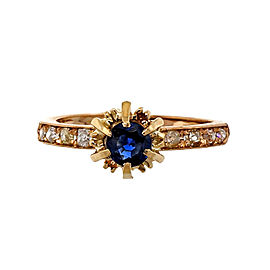 Vintage 14K Pink Gold .50ct Sapphire Diamond Ring Size 7.25