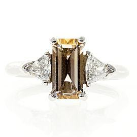 Platinum Light Orange Sapphire 1.44ct & 0.48ct Diamond Ring Size 5.5