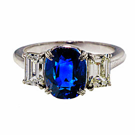 Platinum with 3.11ct Blue Sapphire and Diamond Art Deco Ring Size 6.5