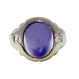 Platinum 6.50ct Violet Blue Sapphire and Diamond Vintage Art Deco Ring Size 8.75