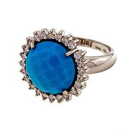 Piero Milano 18k White Gold Ring With Diamond Halo Turquoise Center Size 6.5