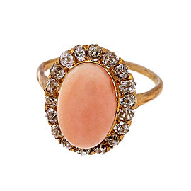 14k Rose Gold Natural Pink Coral and Diamond Victorian Ring Size 5.5