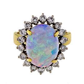 Vintage 18k Yellow White Gold Fine Blue Green Opal Ring