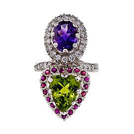 Platinum Peridot, Amethyst, Ruby & Diamond Multi Stone Ring Size 5.75