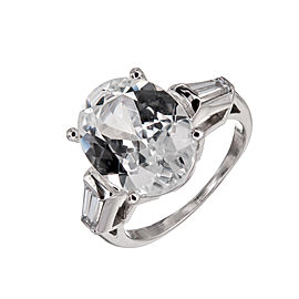 Platinum 6.44ct Sapphire & Diamond Ring Size 6.5