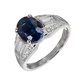 Platinum 3.19ct Sapphire & Diamond Ring Size 7.5
